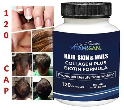 Organic Biotin & Collagen Hair Growth Supplement Hair, Skin, Joints Vitamins 120