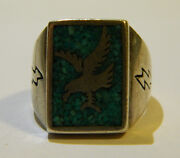 Sterling Turquoise Eagle Ring