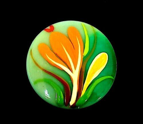 "Vintage Alan & Edith BROOKS Flower Button…Crocus…Hand Painted Casein...5/8"""