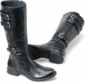 039 s born flat boot attila black burnished leather