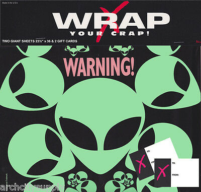 ALIEN -  BLACK LIGHT -  GIFT WRAP  & GIFT TAGS - FREE SHIPPING       *PW-GW5