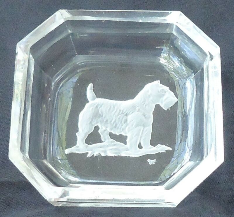 ART DECO SEALYHAM CESKY TERRIER CRYSTAL SALT CZECHOSLOVAKIA HOFFMAN MARK DOG