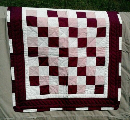 Vintage Patch Work Quilt  Wall Hanging Burgundy Pink