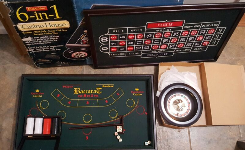 Excalibur Electronics 6 in 1 Portable Casino Set LARGE SIZE FELTED Awesome piece