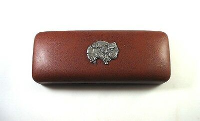 Pomeranian Pewter Motif On Brown Solid PU Glasses Case NEW Mother Dad Xmas Gift