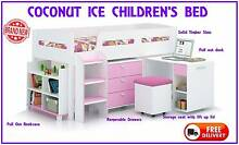 FREE DELIVERY Girls Single Loft Kids Bed Desk and Storage - NEW New Farm Brisbane North East Preview