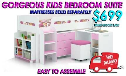 Brand New SINGLE Size Kids Loft Bed with Storage FREE DELIVERY