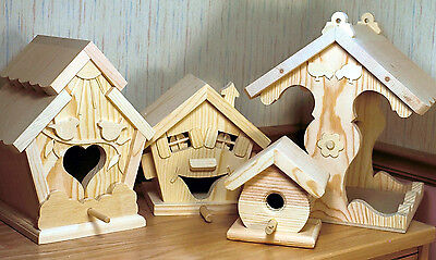 Woodworking plans for making assorted birdhouses and a feeder