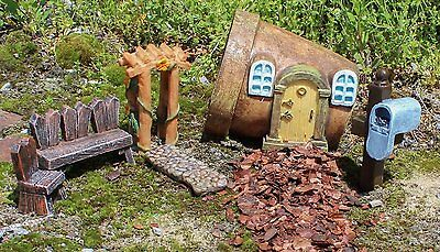 Fairy Garden Miniature TERRA COTTA POT HOME 6-Piece Accessory Set, by MayRich
