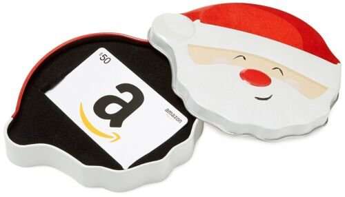 $50 Amazon Gift Card in a Santa Smile Tin! Lightning-fast FREE 1-Day Delivery!