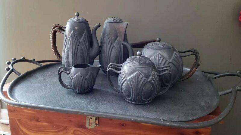 Alice & Eugene Chanal French Art Nouveau 6 Pieces Tea Set **as found 1910