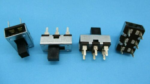 1/5/10pcs - 3A DPDT Slide Switch,125VAC, Metal Body, PC Board Mount, 6 Contact