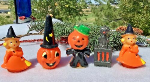 Lot of 5 Vintage Halloween Gurley Candles Witches JOL Pumpkin Black Cat BOO!