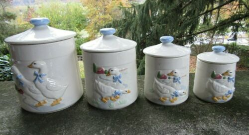"""4 x Vintage Ceramic Canister Set- Two Different Geese Scenes- Tallest  ~ 8.5"""""""