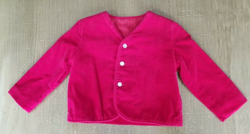 Vintage 1960s Blazer Jacket Button Front Red Velour Long Sleeve Boy