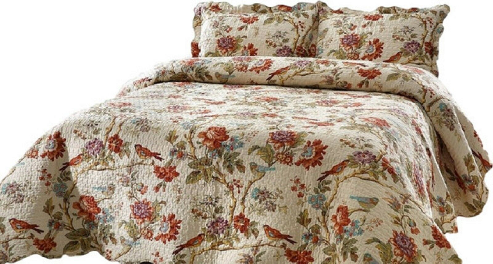 Patch Magic Quilt Set Oversized Finch Orchard Bed in a Bag Set KING Size  NEW Bed-in-a-Bag