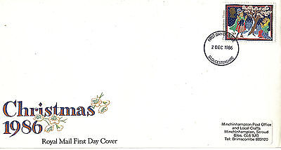2 DECEMBER 1986 12p DISCOUNT CHRISTMAS ROYAL MAIL FIRST DAY COVER GLOUCESTERSHIR