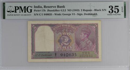 INDIA / BRITISH ADMINISTRATION P# 17b 1943 2 RUPEE PMG 35 EPQ Choice Very Fine