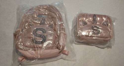 "NWT Justice Girls Unicorn Rose Gold Backpack Lunch Tote Set Initial ""S"""