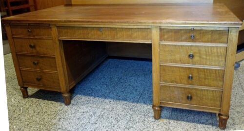 Antique Victorian Partners Pedestal Desk w/ Mahogany & Wavy Mahogany Finish