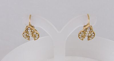 ANTIQUE  VICTORIAN 14 KT GOLD SEED PEARLS ARROW TARGET LOVE TOKEN   EARRINGS