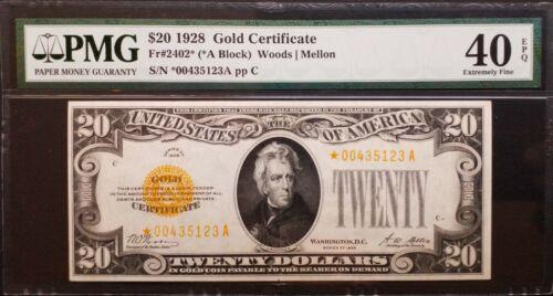 FR 2402* 1928 $20 Gold Certificate *Star Note* PMG 40 EPQ