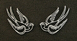 BLACK & WHITE SWALLOWS PAIR (S) Tattoo Ink Chic Rockabilly  Iron Sew On Patch