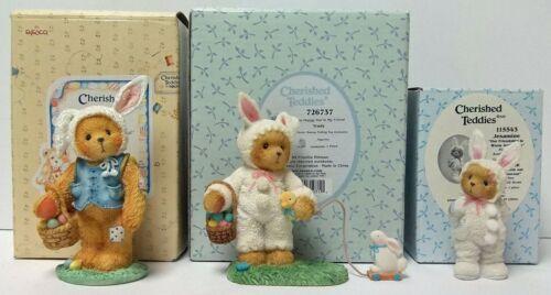 Cherished Teddies Lot of 3 Easter Bunny Figurines, Trudy, Peter, Jesamine (Avon)