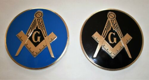 "2 Freemason Masonic car auto emblem with Black + Blue background 2.5"" inches"