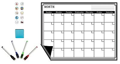 30 Piece Set Magnetic Refrigerator Whiteboard Dry Erase Monthly Calendar Erasers