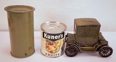 Lot of 3 Vintage Banks Kuner's Fruits Farmers State Baker Electric 1910 Car