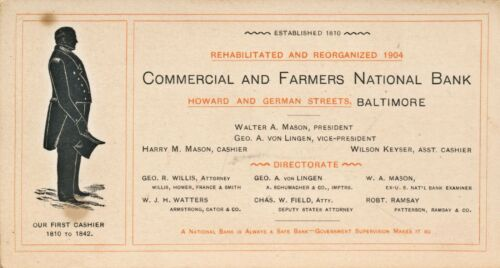 1904 Baltimore MD. Commercial & Farmers National Bank Report, Officers Directors