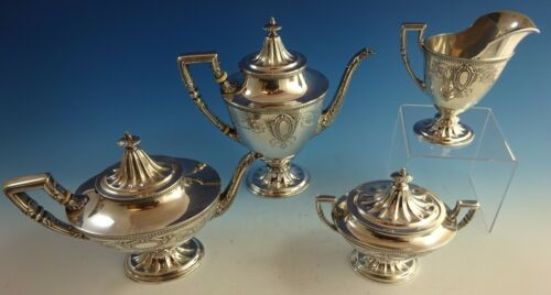 Juliet By Wallace Sterling Silver Tea Set 4pc #3700 (#1435)