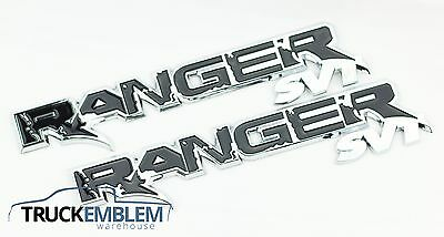 2 NEW PAIR (SET) OF CUSTOM CHROME FORD RANGER RAPTOR STYLE BADGES EMBLEMS