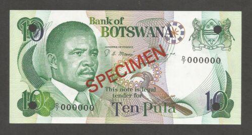Botswana 10 Pula N.D. (1982); UNC; P-9s1, L-B109as; SPECIMEN; National Assembly