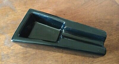 VINTAGE BLACK GLASS CIGAR ASH TRAY MCM 1960'S IN THE STYLE OF ALDON - Accessories In The 1960s