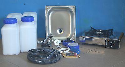 Spule Wasserkocher (Technikpaket 3.2eHcs Gaskocher BS 100 S edelstahl Campingspüle Wasserhahn )