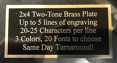 Engraved 2x4 Plate Two Tone Brass Name Plate Custom Plaque Tag Lab Art Trophy