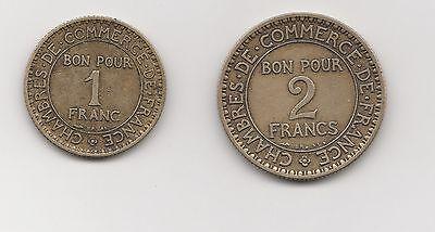 1 und 2 Franc Frankreich 1922 ( 1482)