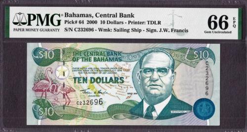 Bahamas 10 Dollars 2000 Pick-64 GEM UNC PMG 66 EPQ