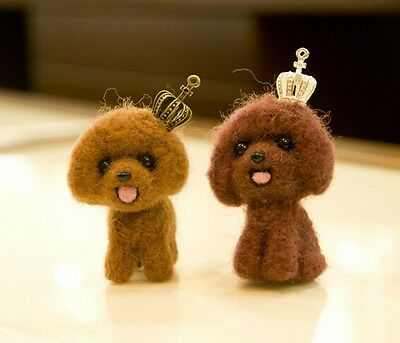 Twin Teddy Dog Needle Felted DIY Making Kit Wool Animal Patterns Puppy