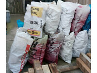 bags of firewood in the 25kg = 4 stone sized coal bags , blocks & pallet board cut offs