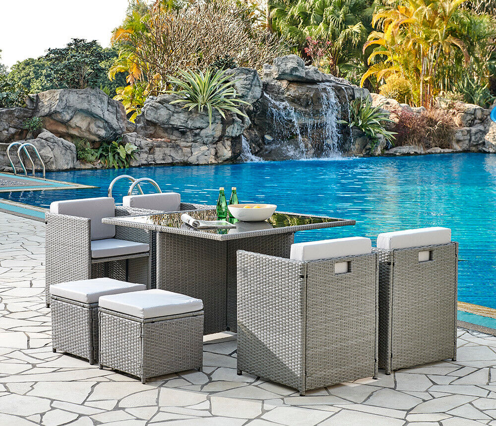 Garden Furniture - Cube Rattan Garden Furniture Outdoor 9 Piece Set Conservatory Patio Dining Set