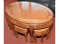 Chinese Rosewood Marriage / coffee table with 6 side tables.