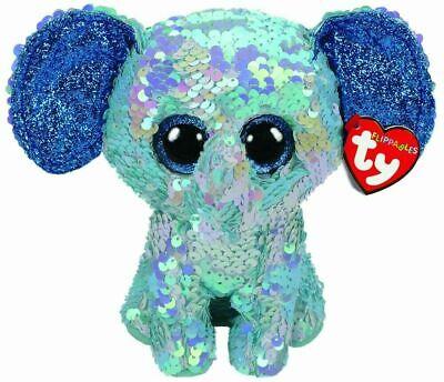 Stuart Elephant Sequin Flippables Ty Beanie Boos Stuffed Animal Plush Small 8