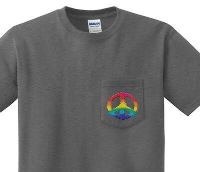 Pocket t-shirt men's Peace sign design pocket tee for men dark gray shirt