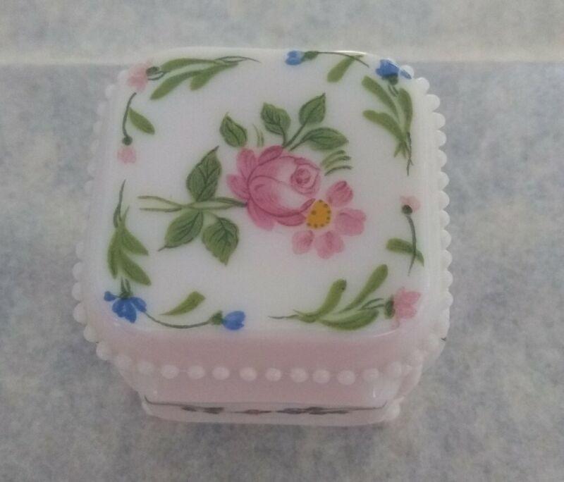 Westmoreland  Milk Glass Floral Rose Flower Footed Beaded Trinket Box