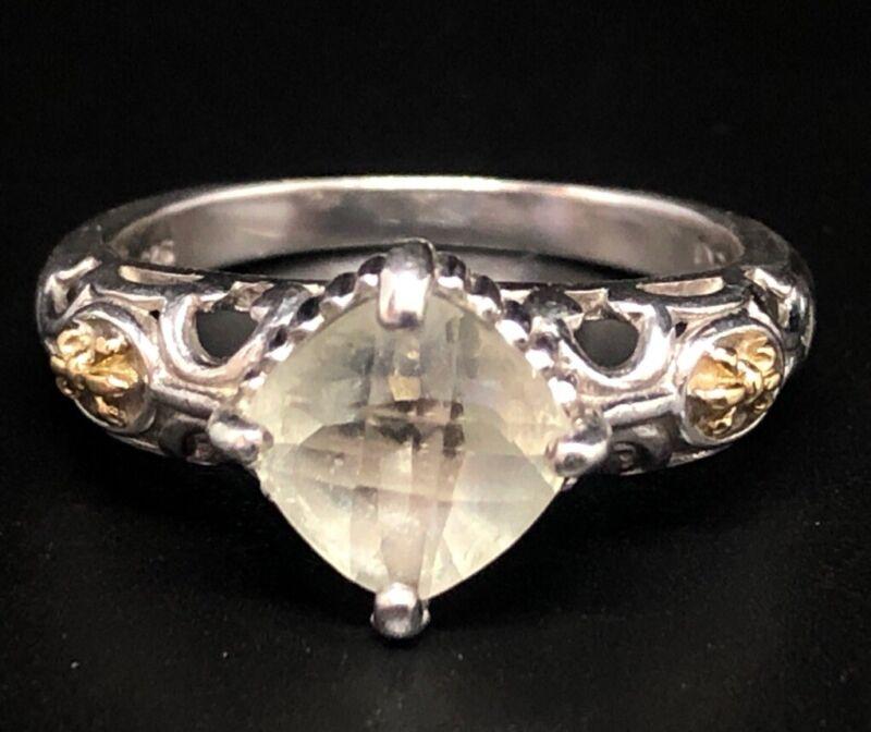 Designer 18k Yellow Gold & Sterling Silver Ring Size 6 Lemon Quartz Signed P G