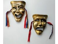 Theatre Masks Comedy Tragedy in Brass