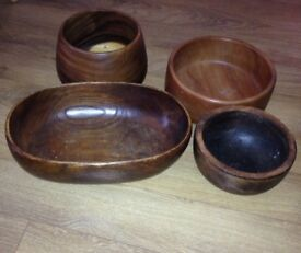 4x retro wooden bowls